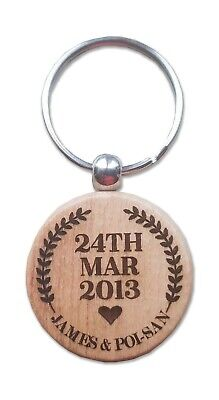 Wooden Laser Engraved Personalised Gift Key Fob Heart Oval Circle Shape • 2.80£
