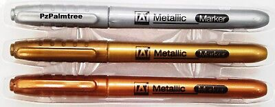 3 Metallic Marker Pens Gold Silver Bronze Paper Card Glass Metal Plastic Xmas • 2.89£