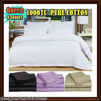 AU54.95 • Buy 1000TC  QUEEN SIZE QUILT COVER SET COTTON SATIN STRIPE ~ 4 Color To Choose