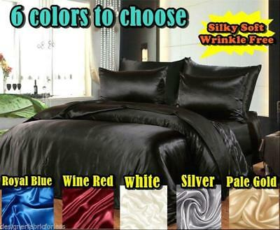 AU59.99 • Buy Hotel Quality Silky/Satin Queen Or King Size Bed Sheet Set -6 Colour To Choose