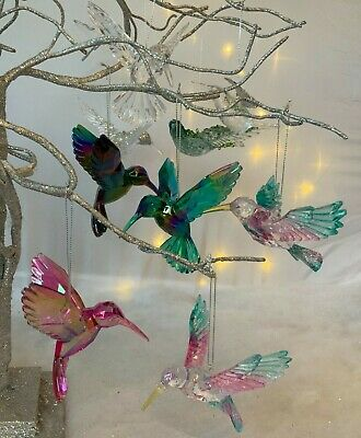 Hummingbird Hanging Decorations Acrylic Rainbow Gold Glitter Christmas Tree Bird • 3.89£