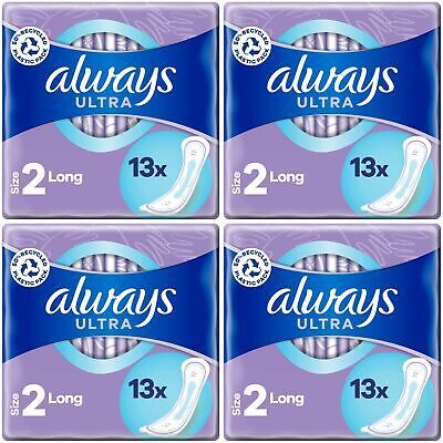 £9.75 • Buy Always Ultra Long Sanitary Towels Pads Size 2 Womens Super Absorbent Pack Of 56
