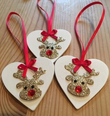 £4.99 • Buy 3 X Reindeer Christmas Decorations Shabby Chic Real Wood Heart Glitter Red Bows