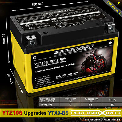 AU74.95 • Buy AGM Battery YTZ10S Upgrades YTX9-BS Motorcycle