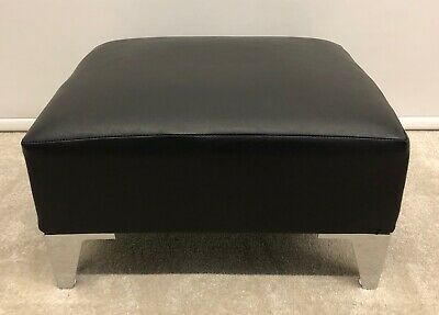 Small Footstool Pouffe Stool Present Black Faux Leather Metal Leg British Made • 49.50£