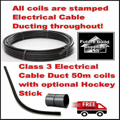 Electric Cable Duct Ducting 32mm Or 38mm ID X50m Smooth Bore Coil Black / Hockey • 18.50£