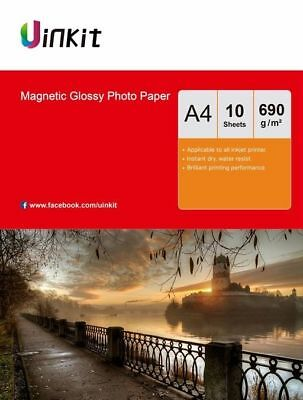 £9.99 • Buy A4 Magnetic Photo Paper High Glossy Inkjet Refrigerator Paper - 10 Sheets Uinkit