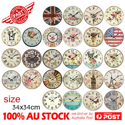 AU22.99 • Buy 30 / 34cm Rustic Vintage Wall Clock Coloured Stylish Design Art Sculpture Boards