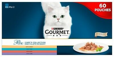 Purina Gourmet Perle Chefs Collection Mini Fillets In Gravy Wet Cat Food 60 X85g • 29.99£