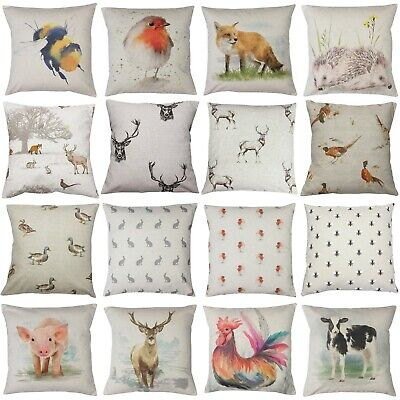 £7.99 • Buy Country Animal Print Cushion Cover Stags Hare Cow Pig Pheasant Duck
