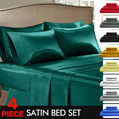 AU39.99 • Buy DreamZ Silky Satin Bed Sheet Set Fitted Flat Sheet Pillowcases Double Queen King