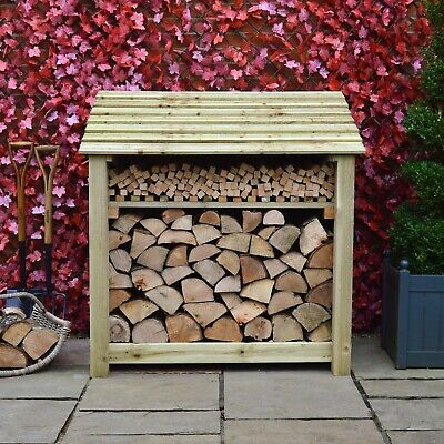 Greetham 4ft Outdoor Wooden Log Store ***Clearance Stock*** - UK Hand Made • 134.99£