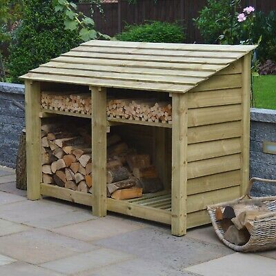 Hambleton 4ft Outdoor Wooden Log Store - Also Available With Doors- UK Hand Made • 274.99£