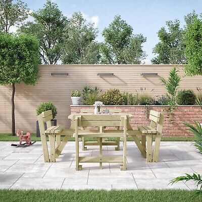 £379.99 • Buy Braunston Wooden Picnic Table With Back Support - 8 Seater - Pub Style Bench