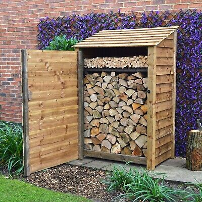 Greetham 6ft Outdoor Wooden Log Store - Also Available With Doors - UK Hand Made • 239.99£
