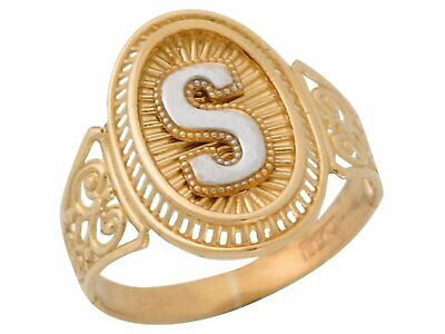 31f377d64558a5 10k Or 14k Two Tone Gold Letter S Filigree Band Radiant Ladies Oval Initial  Ring •