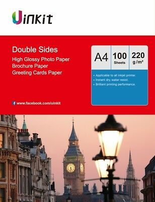 £12.99 • Buy A4 220Gsm Double Sides High Glossy Photo Paper Inkjet Paper Uinkit - 100 Sheets