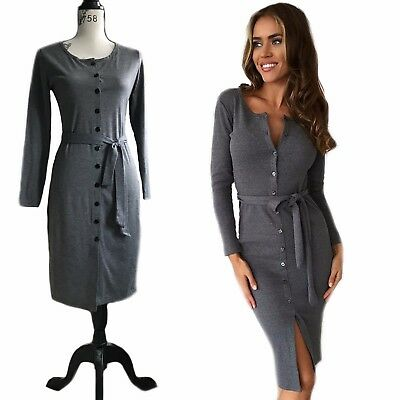 £10.99 • Buy Womens Long Sleeve Front Button Up Dress With Waist Strap Black & Grey