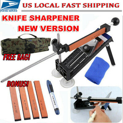 Professional Knife Sharpener Kitchen Sharpening System Fix-Angle With 4 Stone • 16.49$