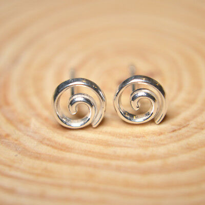 £6.49 • Buy Shiny Solid 925 Sterling Silver Cute Small Spiral Swirl Circle Stud Earrings