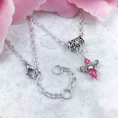 Guardian Angel Crystal Birthstone Necklace, Personalised Birthday Gift, 16 -18  • 7.25£