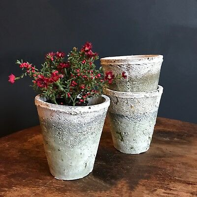 £13.50 • Buy 3 X Aged White Stone Plant Pots Rustic Moss Effect Pot Covers / Planters