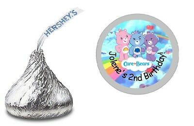 £4.49 • Buy 108 Care Bears Personalized Hershey Kiss Labels Stickers Birthday Party Favors