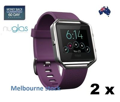 AU5.59 • Buy 2x Nuglas Tempered Glass HD Screen Cover Film Protector For Fitbit Blaze