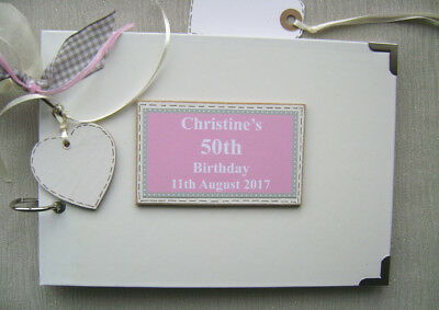 Personalised 50th Birthday. Pink ..a5 Size.. Photo Album/scrapbook/memory Book.  • 11.99£