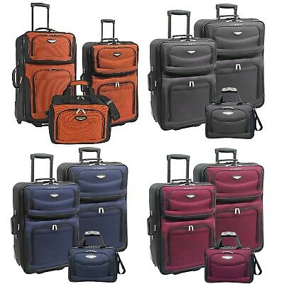 View Details Amsterdam 3-Piece Light Expandable Rolling Luggage Suitcase Tote Bag Travel Set • 82.99$