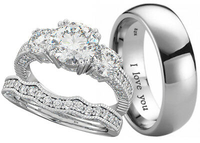 New His And Hers Titanium / 925 Silver Wedding Engagement Ring Couple Set  • 62.99£