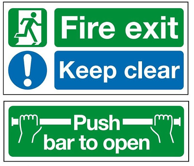 £4.50 • Buy Highest Quality Self Adhesive Fire Exit Door Stickers - Push Bar To Open