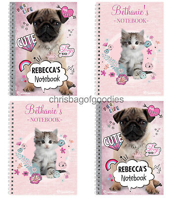 PERSONALISED A5 Paper CAT DOG Lover Pink NOTEBOOK Gifts For Childrens Kids Boys • 8.50£