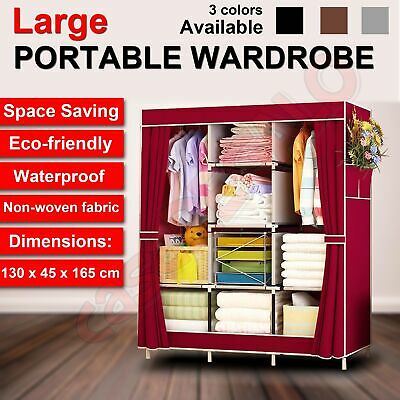AU35.22 • Buy Large Portable Clothes Closet Canvas Wardrobe Storage Organizer With Shelves
