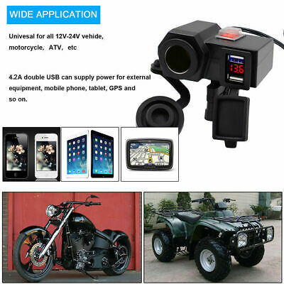 $19.68 • Buy 12V 4.2A Motorcycle Waterproof USB Power Charger Socket Port Voltmeter+145 Cable