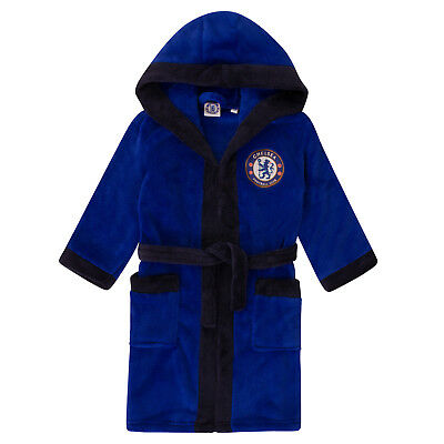 Chelsea FC Official Football Gift Boys Hooded Fleece Dressing Gown Robe • 14.99£