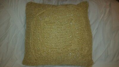 $39 • Buy Pottery Barn Paper Crochet 18  Throw Pillow Cover Tan Natural Jute Nautical