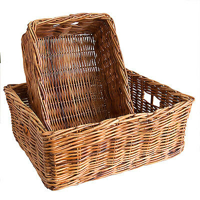 Oblong Rattan Wicker Under-bed Shallow Storage Basket In Choice Of 2 Sizes. • 45£