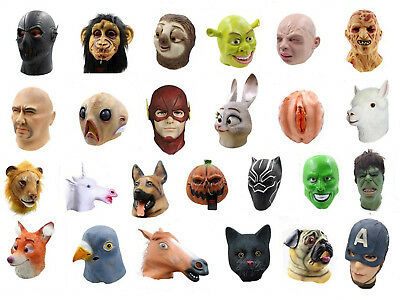 Halloween Latex Full Head Animal Cosplay Masquerade Fancy Dress Up Carnival Mask • 13.99£