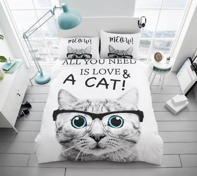 3D Animal Duvet/ Quilt Cover Set With Pillows Love My Cat All Size • 18.48£