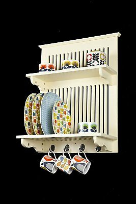 Aston Buttermilk Kitchen Plate Rack, Wooden And Wall Mounted. Solid Top Shelf By • 68.61£