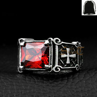 $8.99 • Buy Men's Stainless Steel Cushion Cut Red Ruby Cubic Zirconia CZ Silver Cross Ring