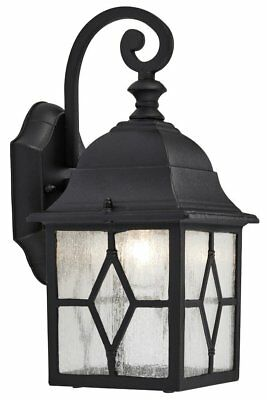 Traditional Black Outdoor Leaded Glass Style Exterior Wall Lantern Light • 29.50£