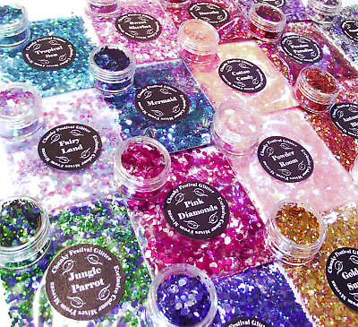 Chunky Mixed Glitter Festival Pot Or Bag For Face Eyes Body Tattoo Party Nails • 1.65£