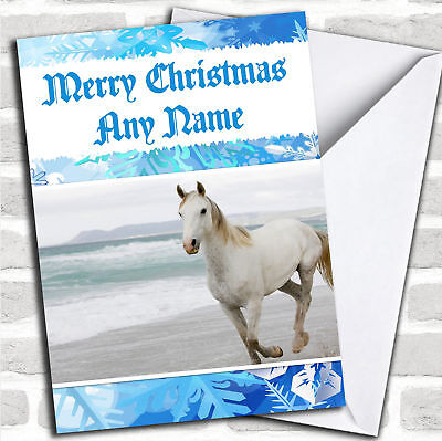 £3.79 • Buy Beautiful White Horse Christmas Customised Card