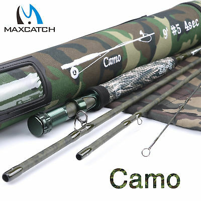 $ CDN139.91 • Buy Maxcatch Camo Fly Rod 9ft 5WT 4/7Sec Graphite Blank Cordura Fishing Rod Tube