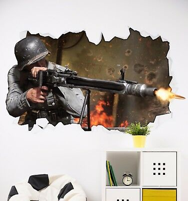 £9 • Buy Call Of Duty WW2 Theme Sticker - Wall Art - Gaming COD - Bedroom Mural Poster 3D