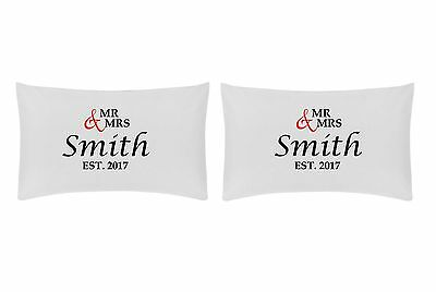 Mr & Mrs Est. Personalised Pillow Case Set - Ideal Wedding Gift • 11.99£