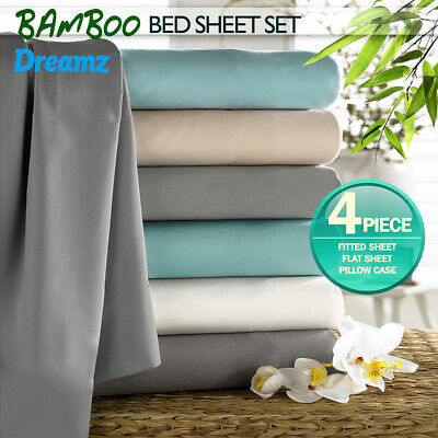 AU69.99 • Buy DreamZ Bed Sheet Set Bamboo Cotton Fitted Flat Sheets Double Queen King Single