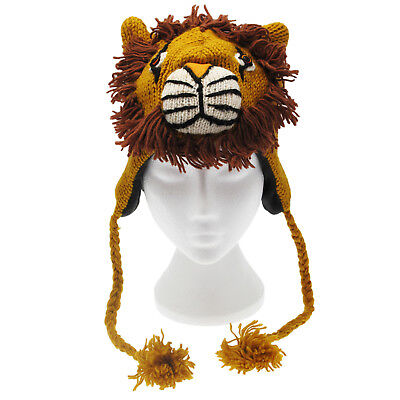 Hand Knitted Woolly Lion Hat, Fun Wool Knit Fleece Lined Animal Hat, One Size • 12.95£